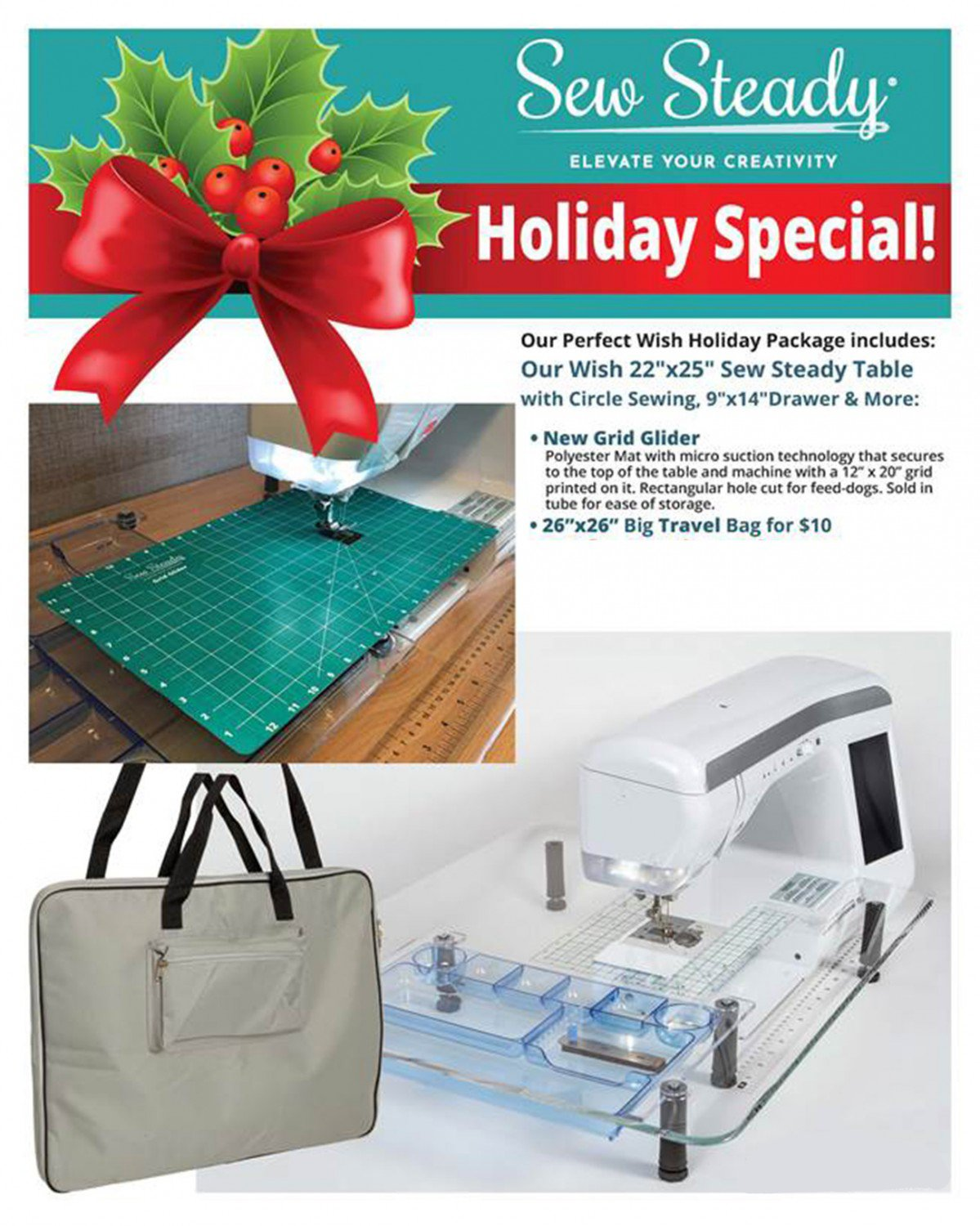 Sew Steady 22-1/2in x 25-1/2in Wish Table Holiday Package