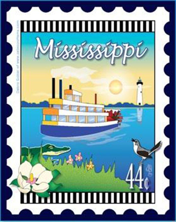 State Stamp Fabric Panel Mississippi