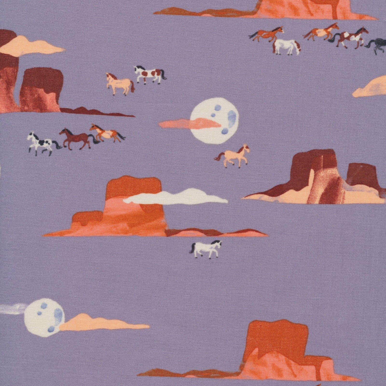 Arid Wilderness Moonlit Mustangs