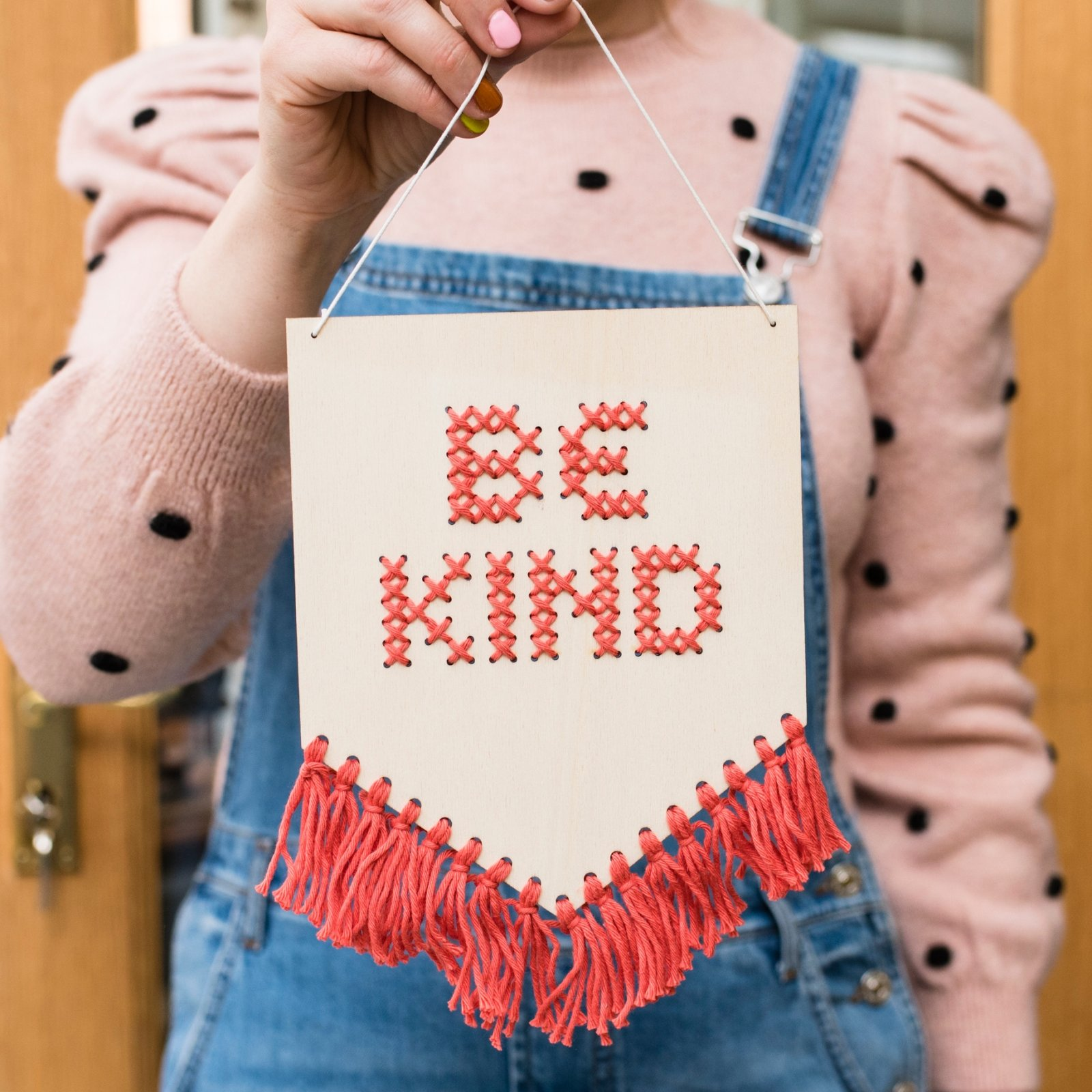 Be Kind Tassled Cross Stitch Banner Kit by Cotton Clara