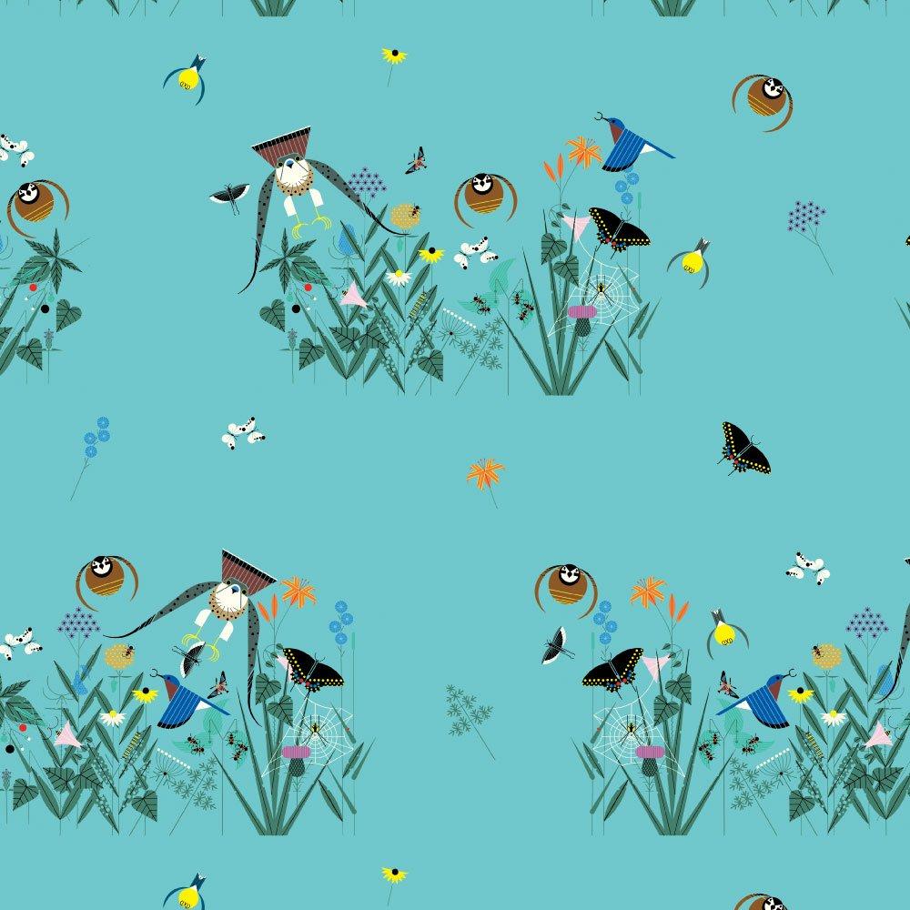 Charlie Harper, Small Field of Birds Organic Cotton Poplin