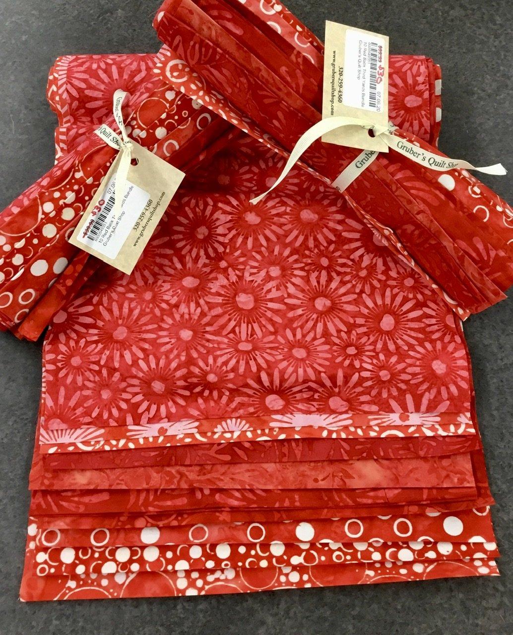 10 Red Batik Third Yards Bundle
