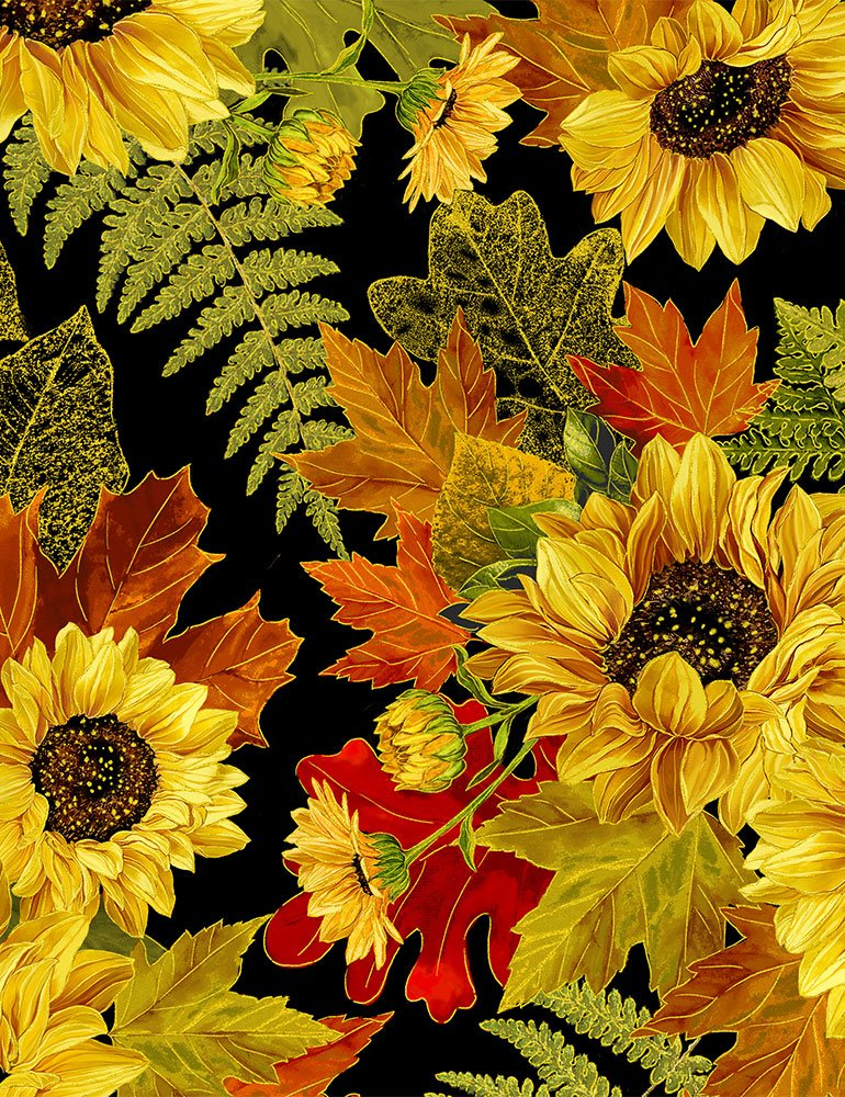 Harvest 8542 Sunflowers Black Metallic