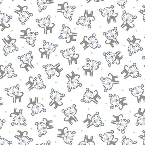 Baby Tiger Flannel 10443F-09 White