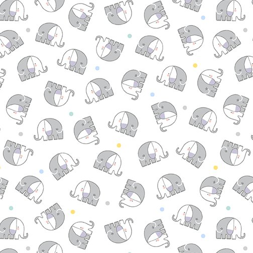 Baby Elephant Flannel 10445F-09 White