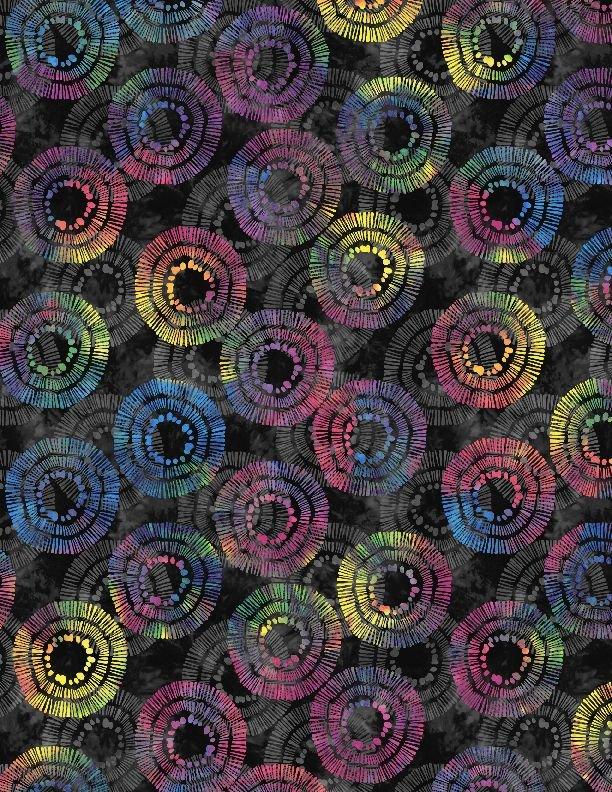 108 Circle Burst 2122-945 Black Rainbow Multi