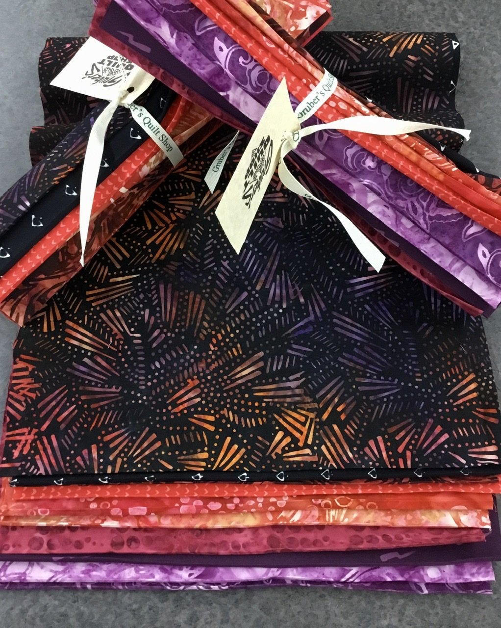 10 Red/Purple Batik Third Yards Bundle