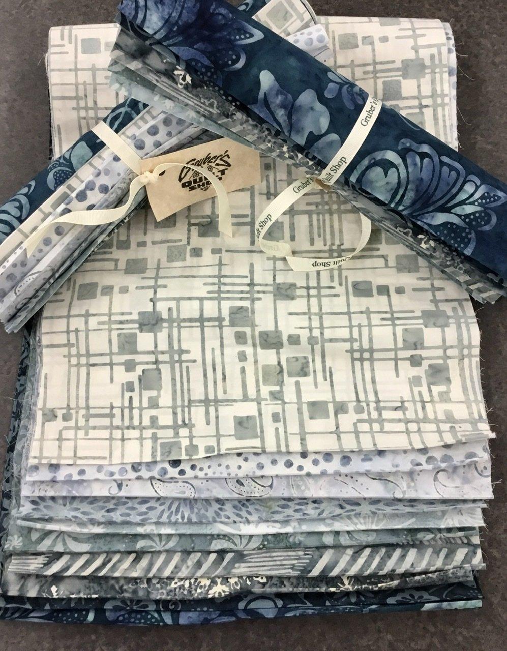 10 Light Blue Batik Third Yards Bundle