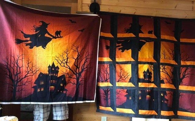 Halloween Attic Windows Kit 57 X 52 Witch on Broom