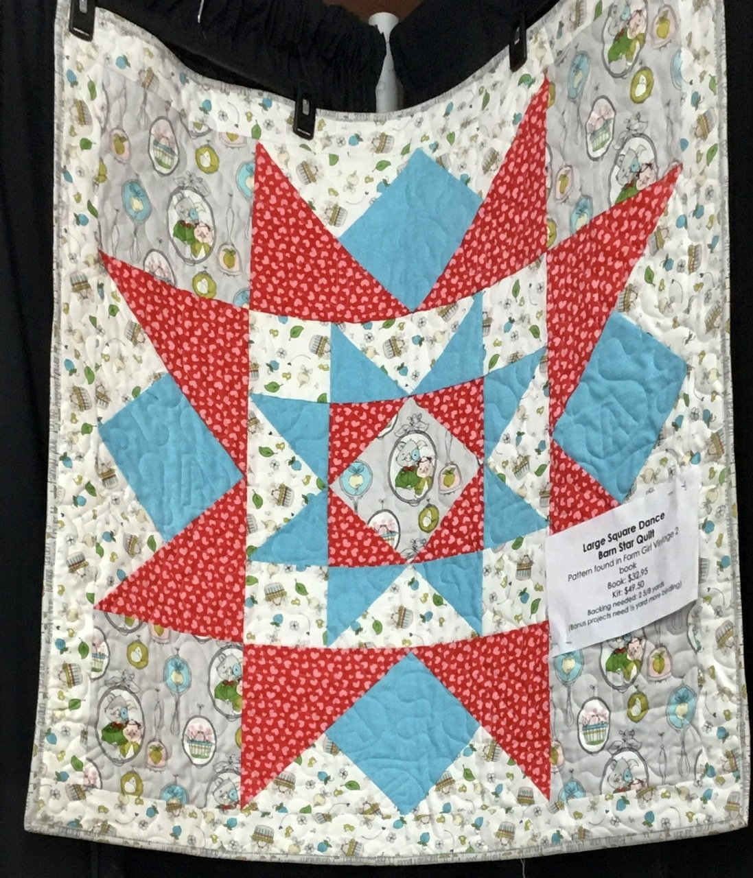 Large Square Dance Barn Star Quilt, 37 X 37, Binding included, pattern sold separate (Farm Girl Vintage 2)