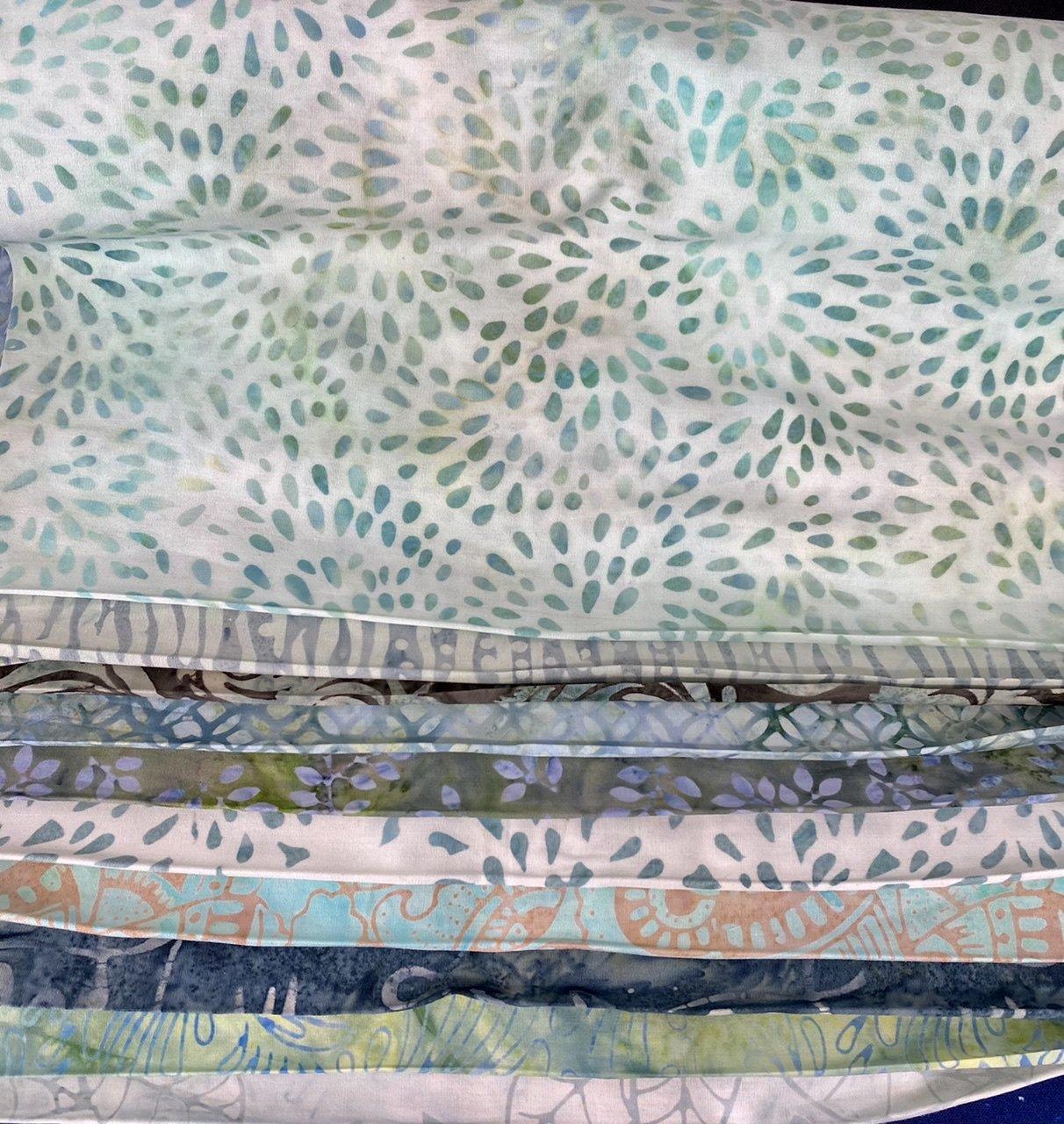 10 blue green Batik Third Yards Bundle