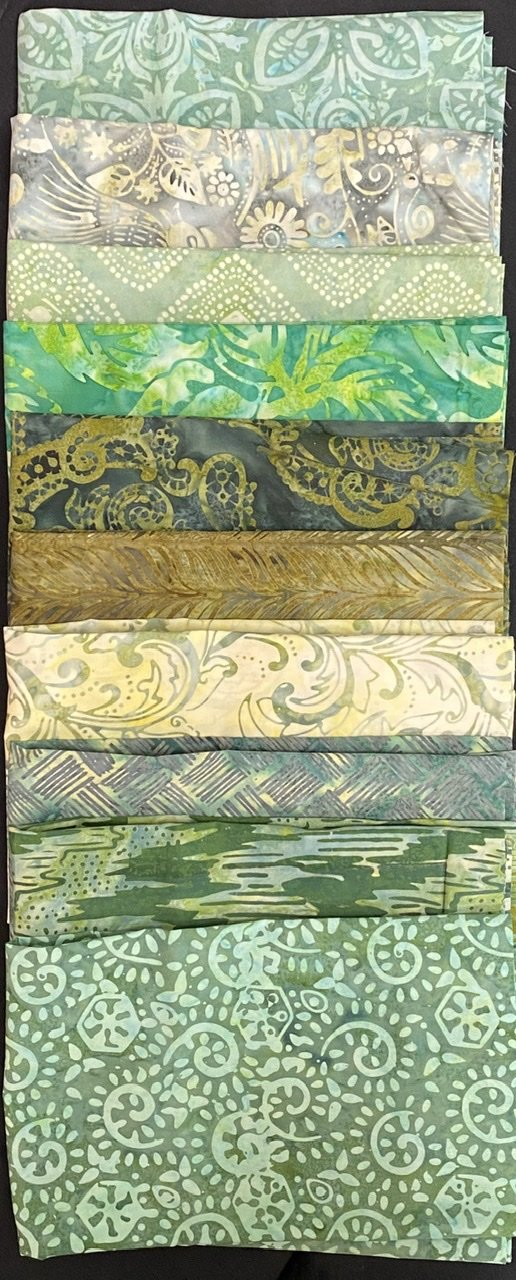 1/2 Yard Green Batik Bundle (10 Cuts)