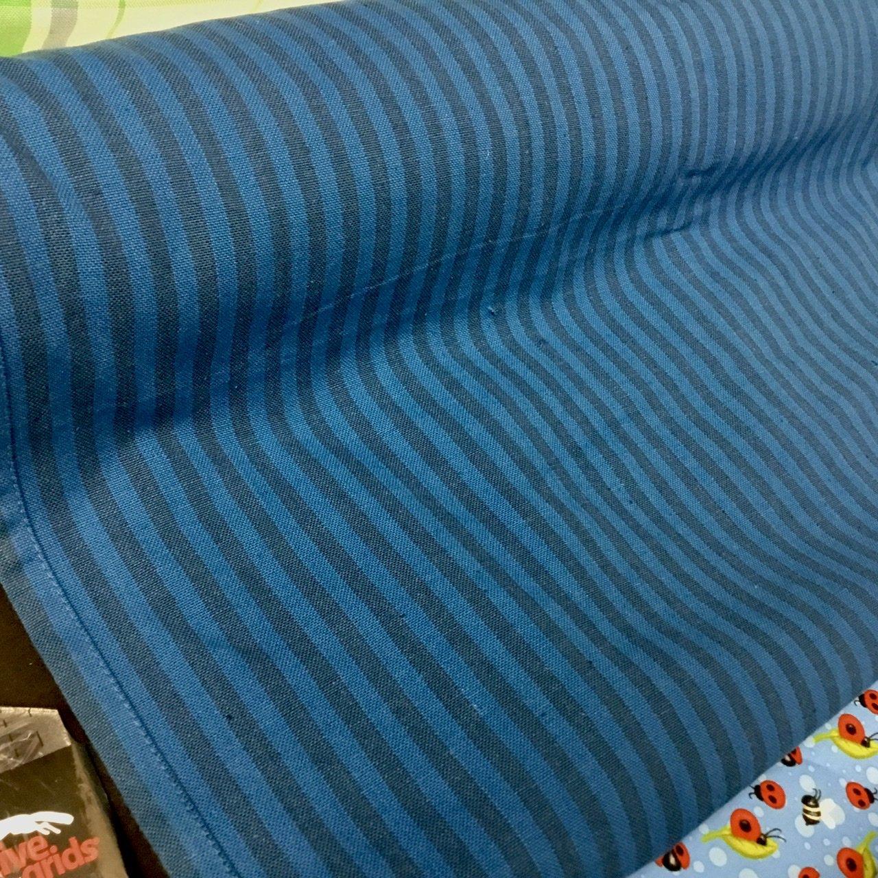 1 1/3 yds x 20 Woven Stripe Blue Tea Towel