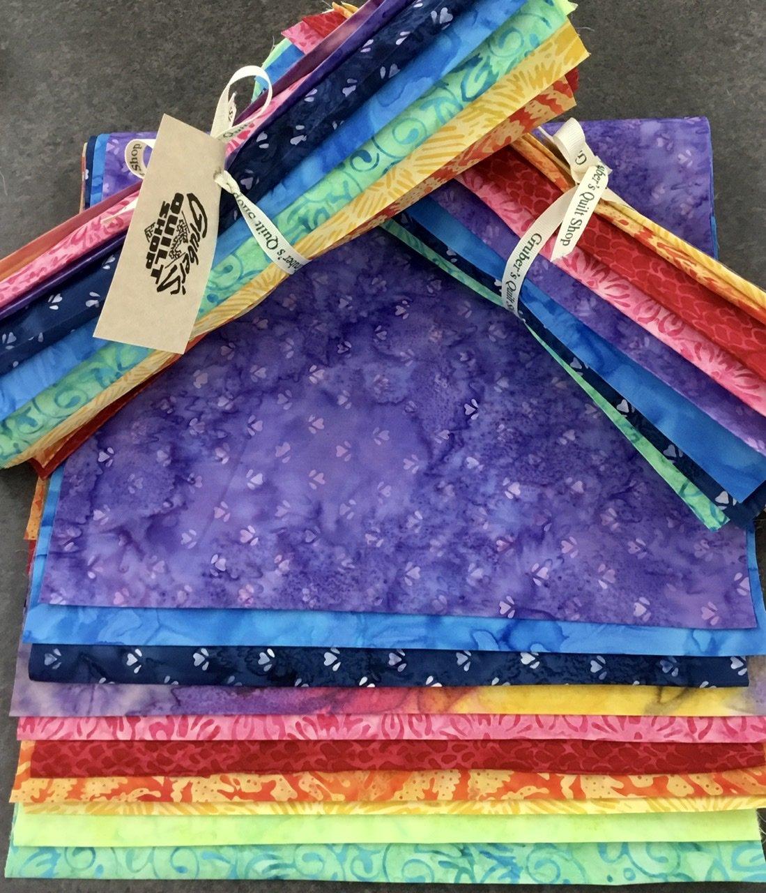 10 Rainbow Batik Third Yards Bundle