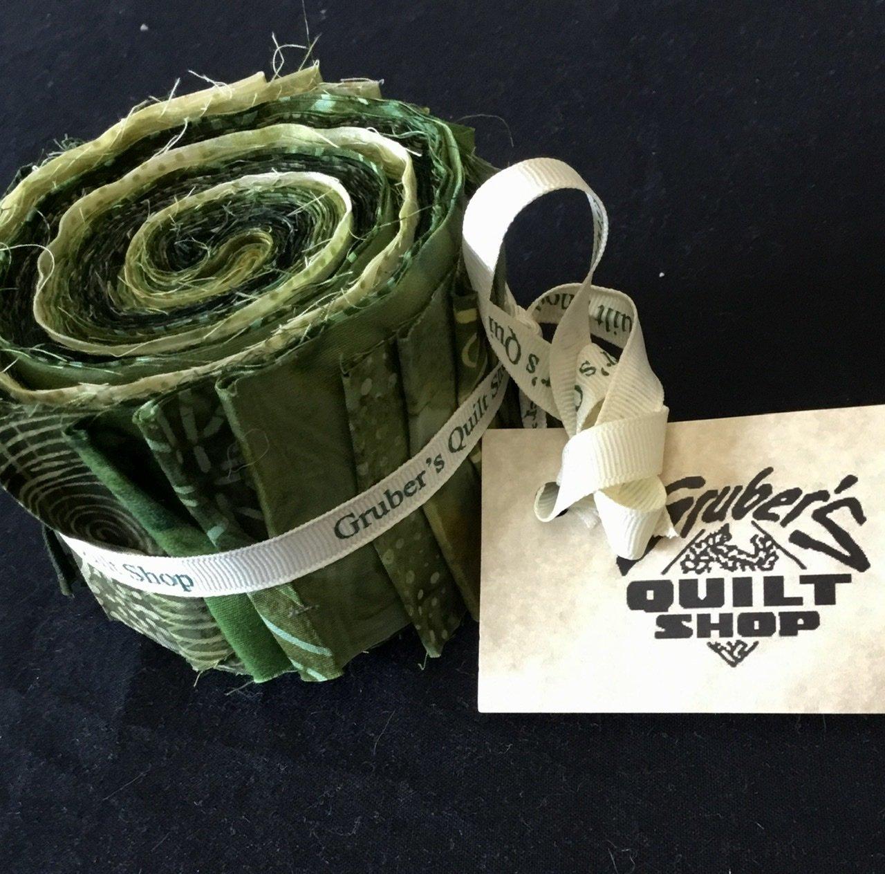 20 Green Batik Jelly Roll Strips