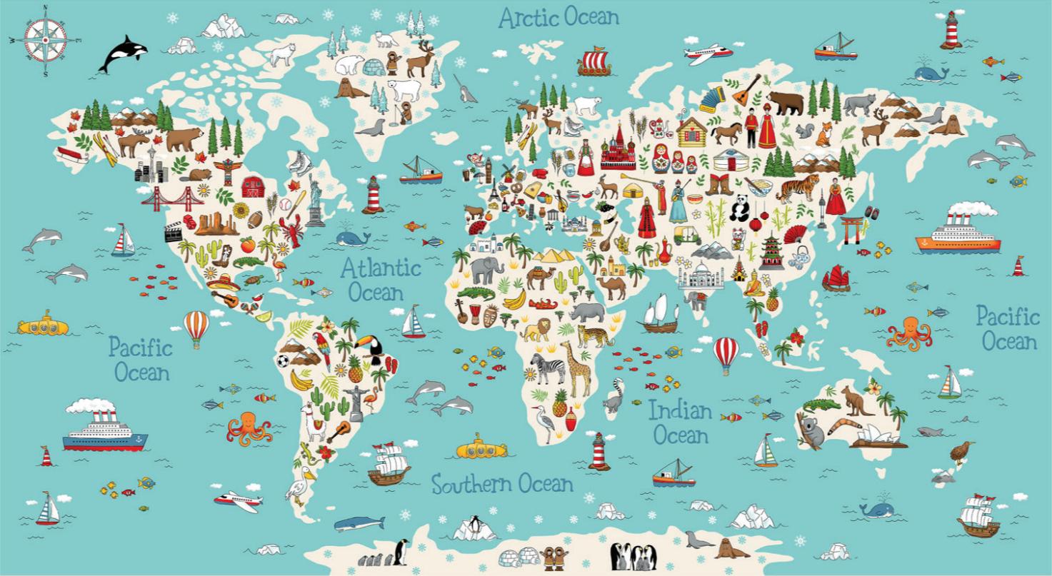 Around the World Map Panel 2398-1