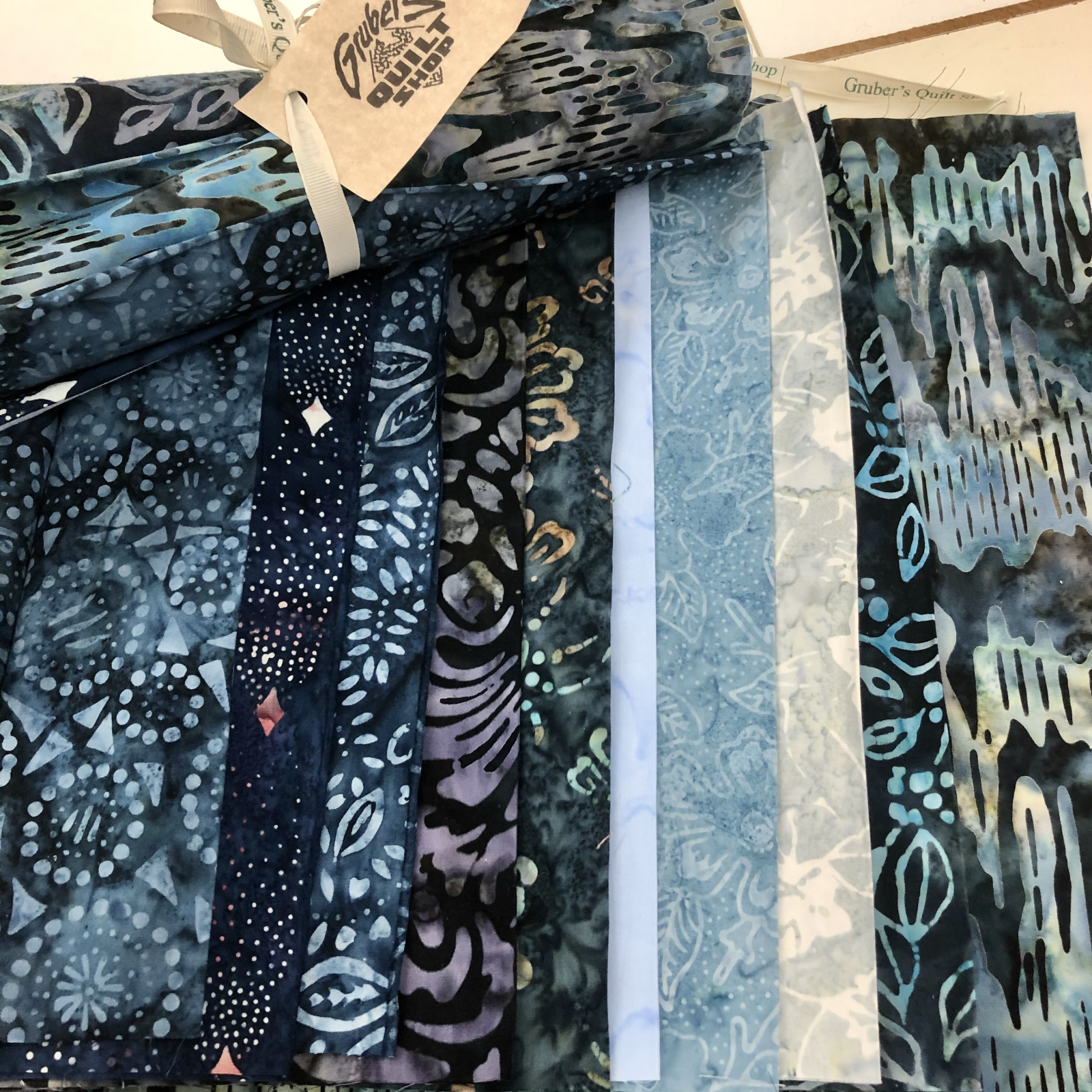10 Blue Batik Third Yards Bundle