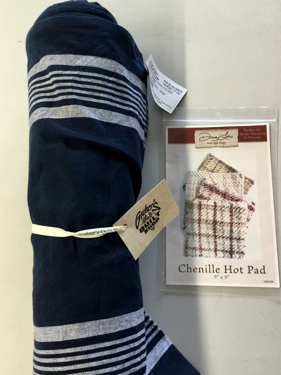 Navy Towel & Chenille Hot Pad Pattern  Kit
