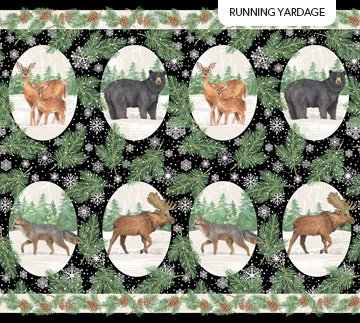 Frosted Forest F24300-99 Black Oval Animals