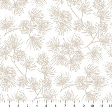 Frosted Forest F24308-11 Cream Pinecones