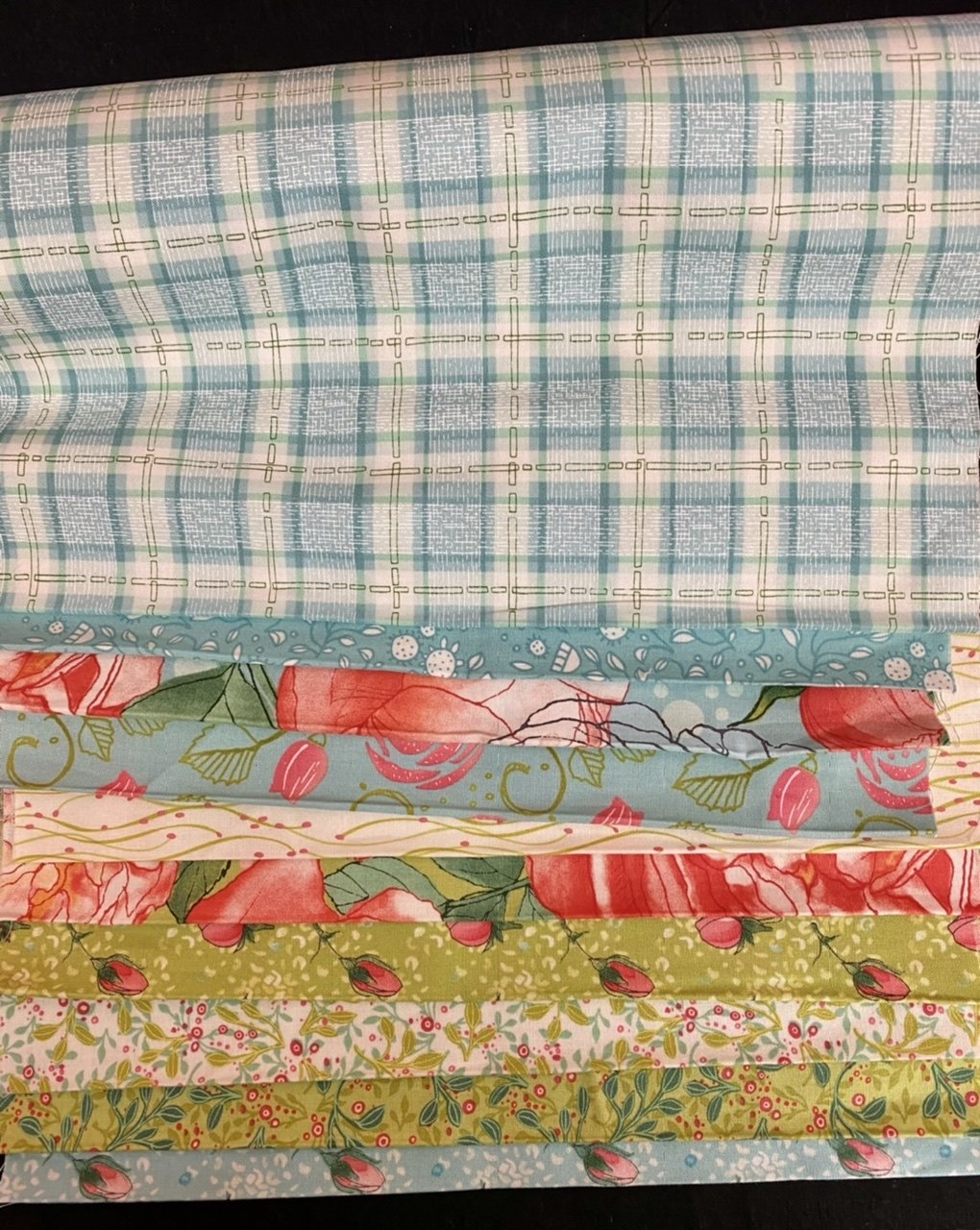 10 third yard bundle Abby Rose blue/green
