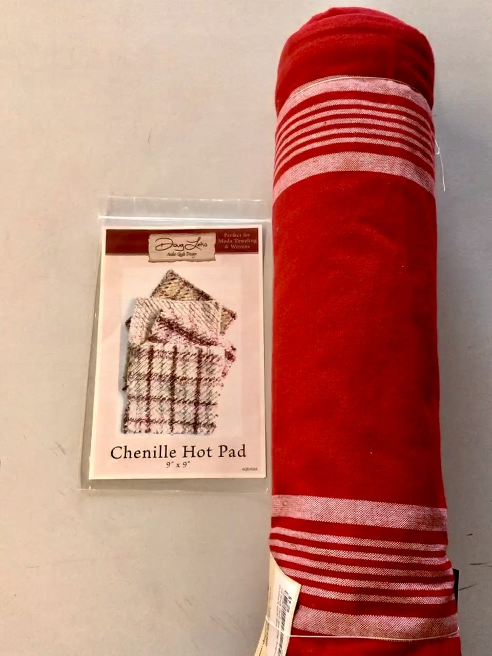 Red Towel & Chenille Hot Pad Pattern  Kit