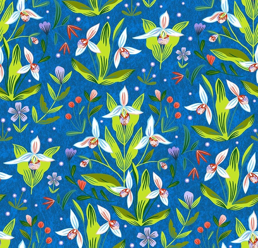 Quilt MN 2020 Y3018-31 Lady's Slipper Royal Blue