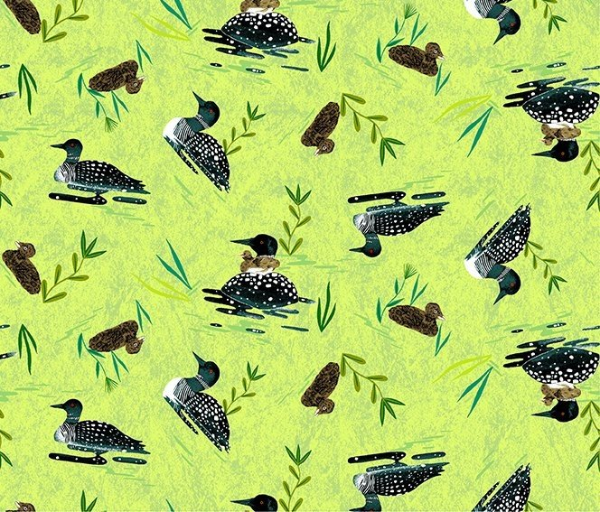 Quilt MN 2020 Y3020-18 Loons Lime