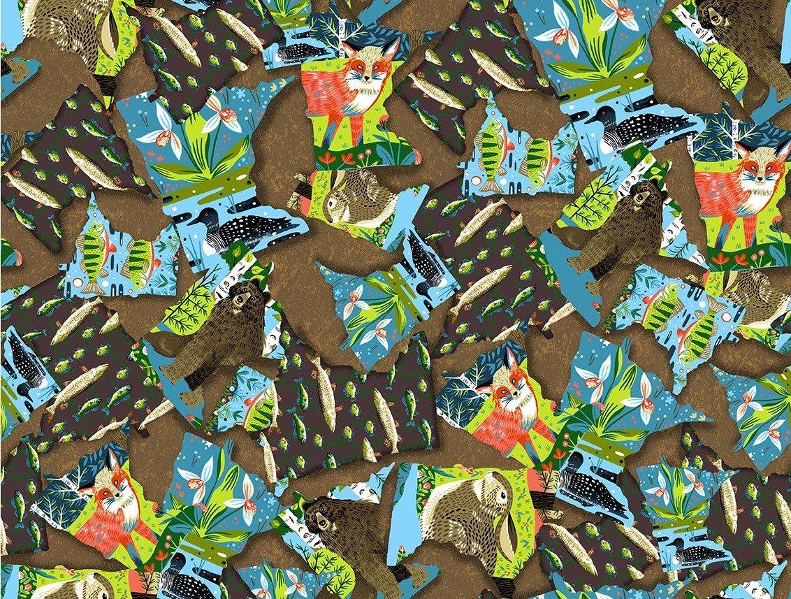Quilt MN 2020 Y3017-66 State Collage Dark Caramel