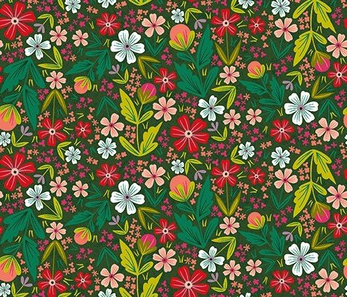 Quilt MN 2020 Y3022-112 Tossed Floral Light Forest