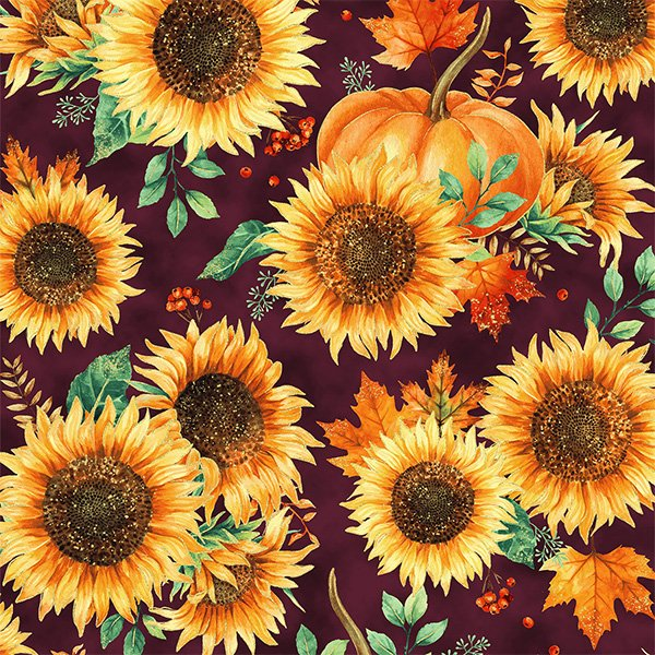 Autumn is in the Air 4853-428G Mulberry Sunflower Gold Metallic