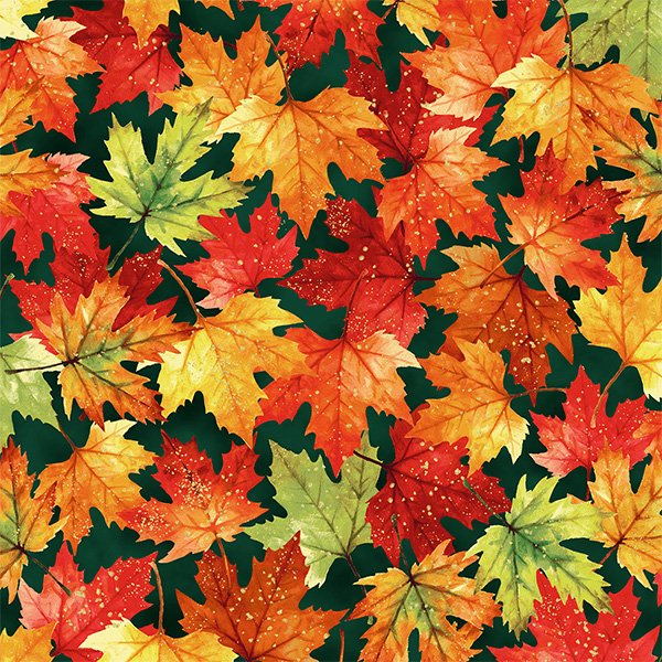Autumn is in the Air 4855-624G Emerald Leaves Gold Metallic