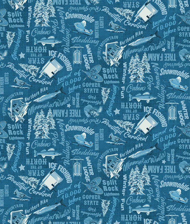 Y3319-105 Quilt MN 2021 Teal Words