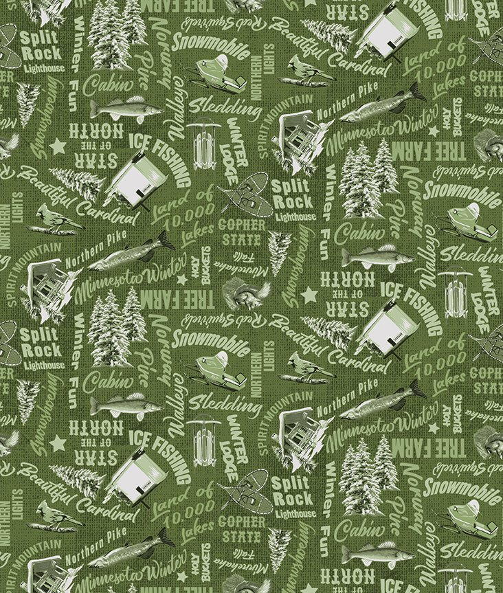 Y3319-24 Quilt MN 2021 Words Olive