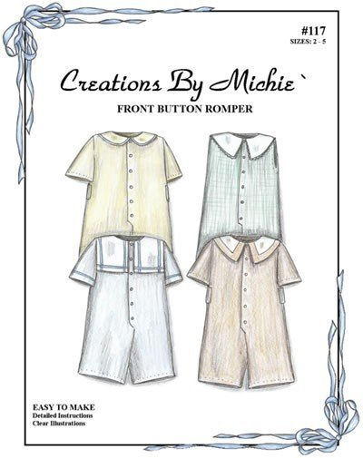 Michie Front Button Romper 117  Size 2-5