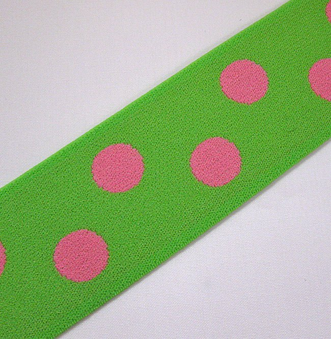 Farmhouse Fabrics/Lime with Pink Dots Decorative Elastic 1