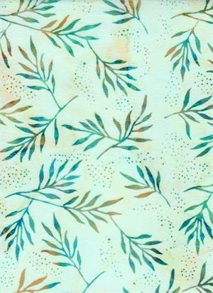 Venus, Cattails, and Moon Bayou Turquoise Cream Leaves for Batik Textiles