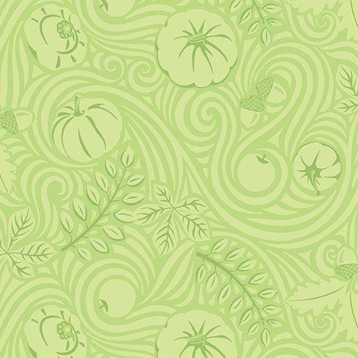 Thankful Autumnwind Green by Amanda Murphy for Benartex
