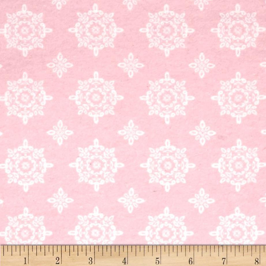 Dainty Damask/Azalea Pink Flannel David Textile