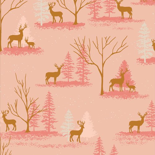 Deer in Winterland Cozy & Magical by Maureen Cracknell for Art Gallery