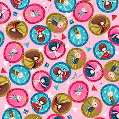 Gift of Friends Girl Medallions Pink - Quilting Treasures