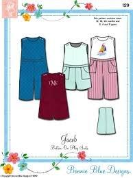 Jacob's Button-on Play Suits/Bonnie Blue 129