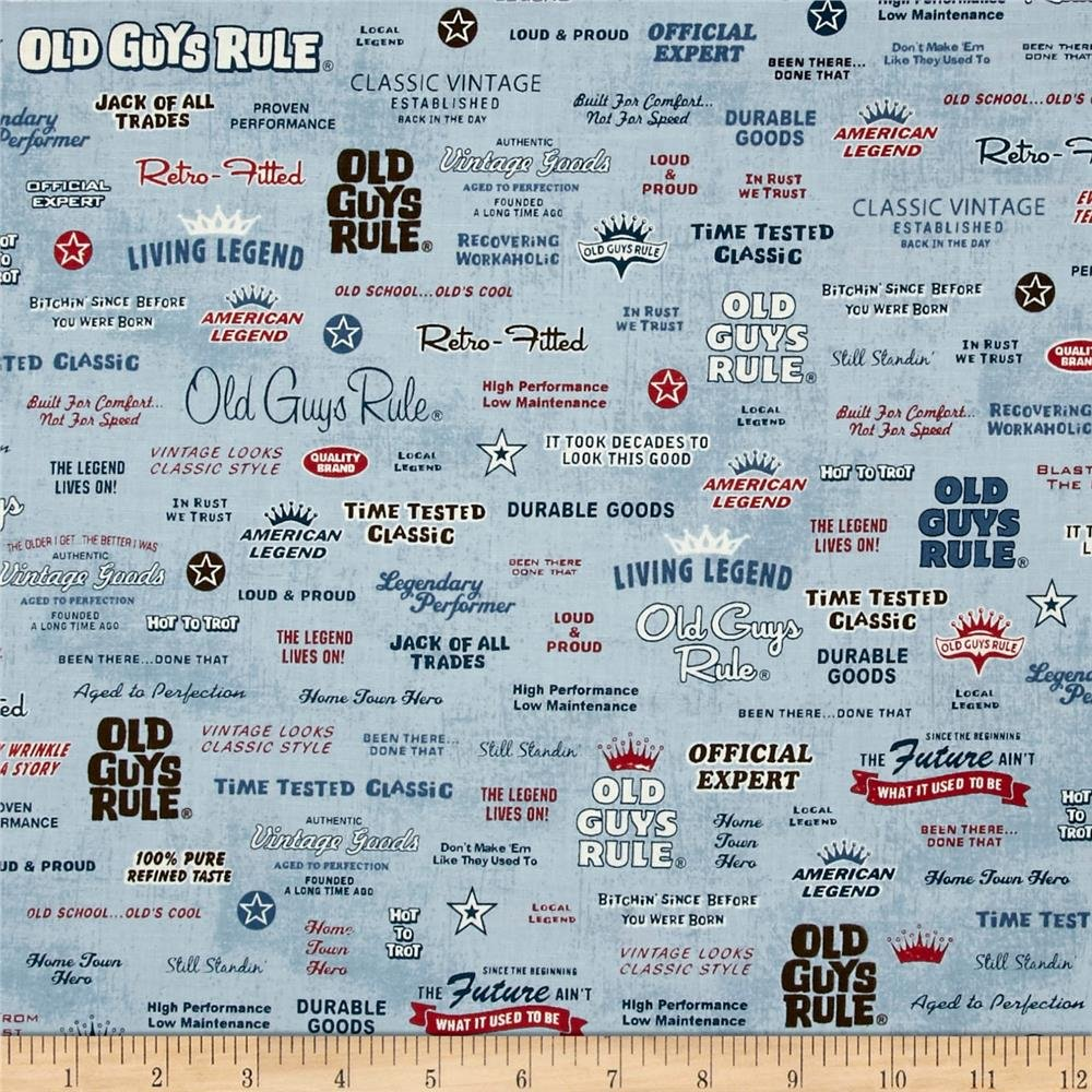 Robert Kaufman/Old Guys Rule/AOD-16704-67 Logo Denim