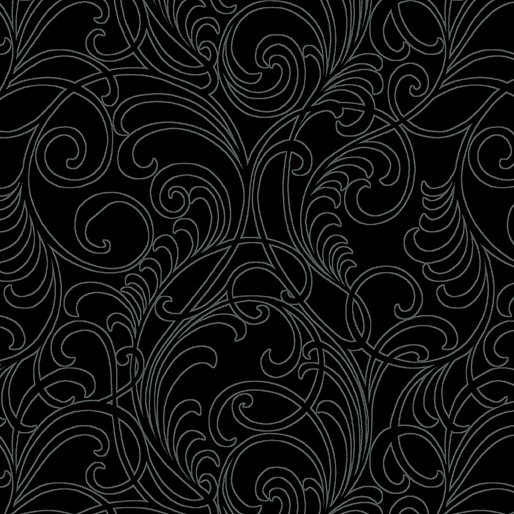 Benartex Meadow Scroll Black 2968-12