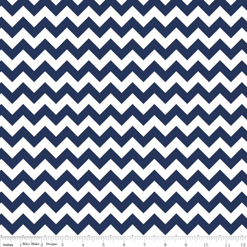 Riley Blake/Navy Chevron Knit/K340-21