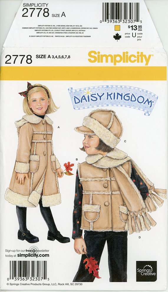 Daisy Kingdom 2778 by Simplicity (Size 3-8)