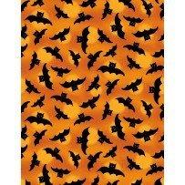 Spooky Vibes Black Bats on Orange
