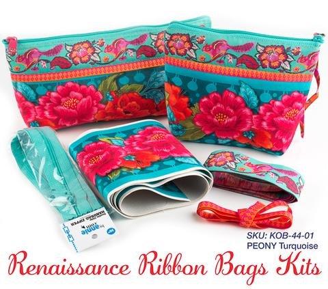 Renaissance Ribbon Bags Kit/Peony Turquoise (ByAnnie/Renaissance Ribbons)