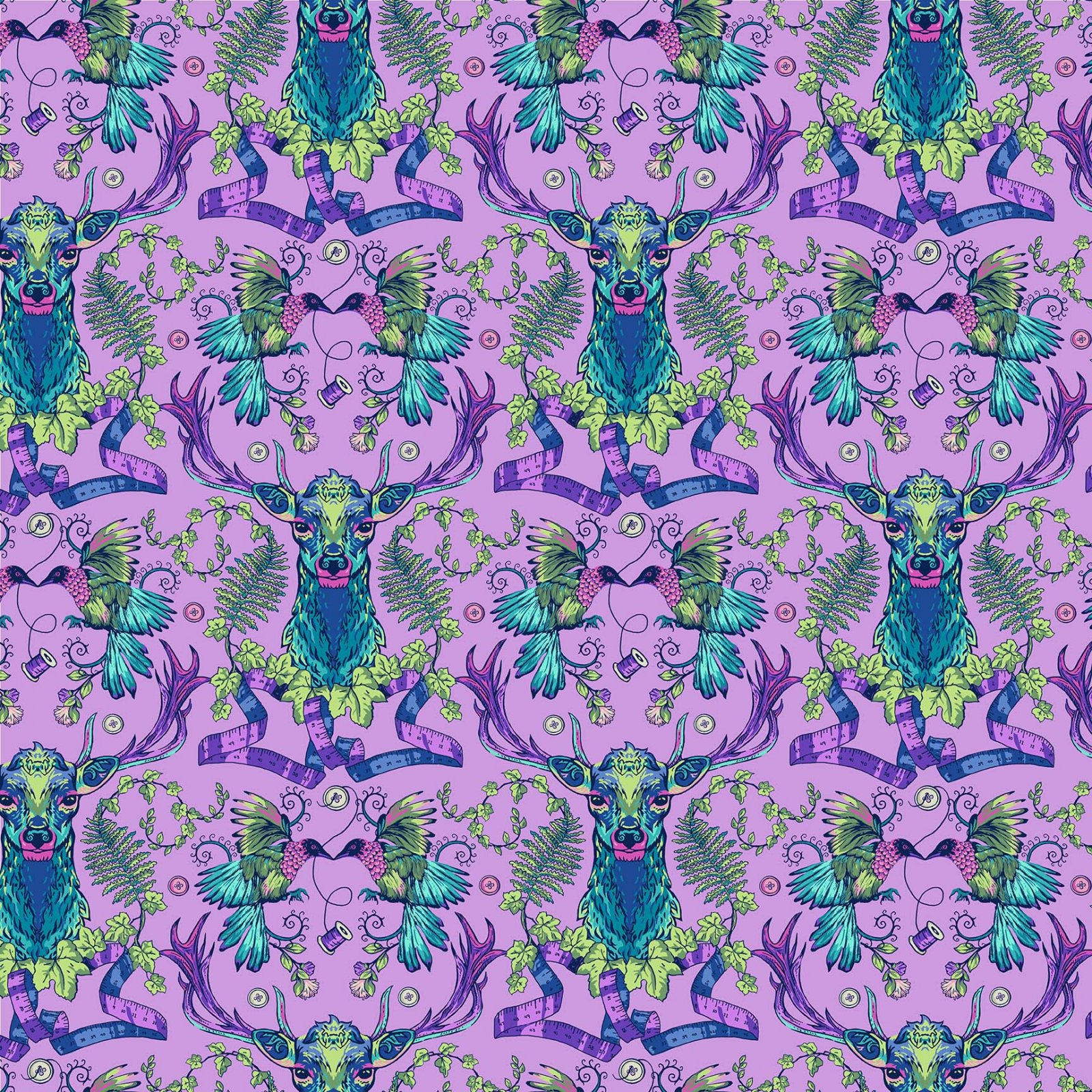 Deer Ridge/Light Purple: Stag and Thistle
