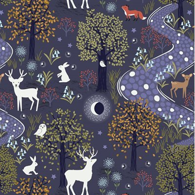 Forest Deer/Midnight Blue: Nighttime in Bluebell Wood (Lewis & Irene)